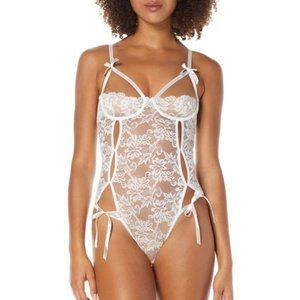 Bridal Honeymoon Crotchless Lace Teddy White